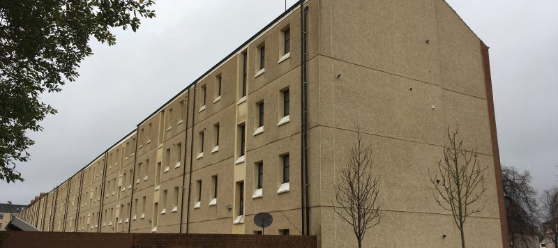 External wall insulation fitted to the backs of tenement flats in Glasgow